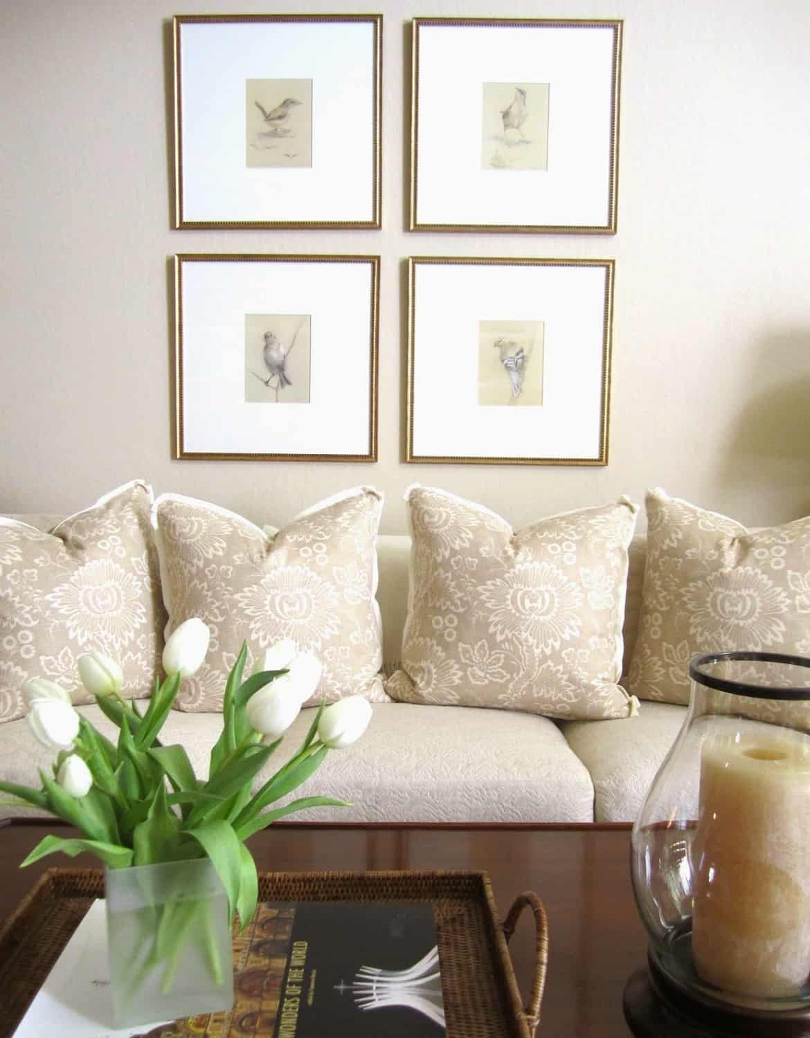 Refreshed Neutral Living Room and Spring Flowers - Classic Casual Home