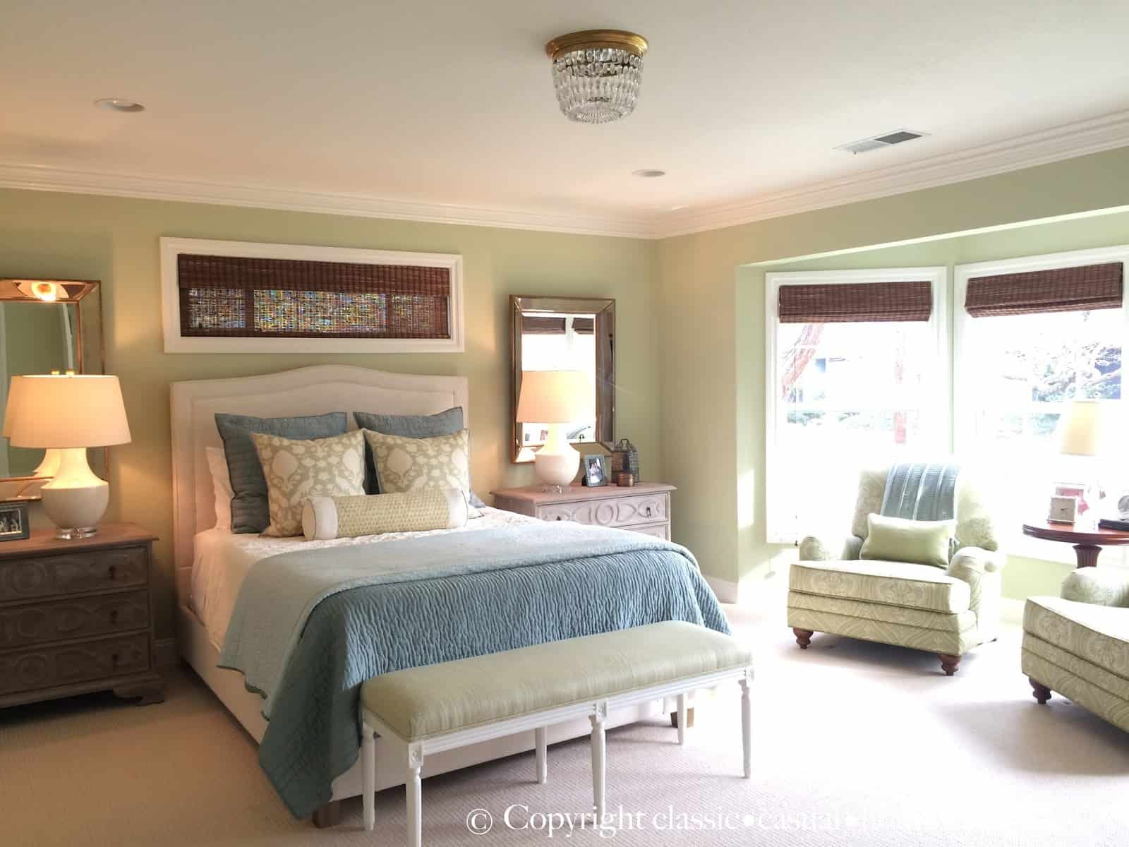 Soft Green and Aqua Blue Master Bedroom Before and After - Classic ...