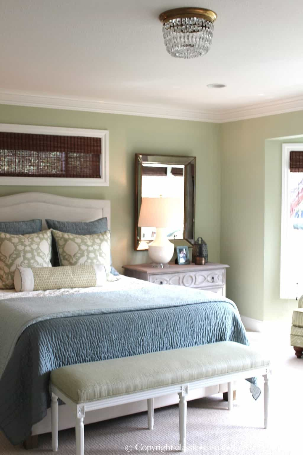 Soft Green and Aqua Blue Master Bedroom Before and After ...