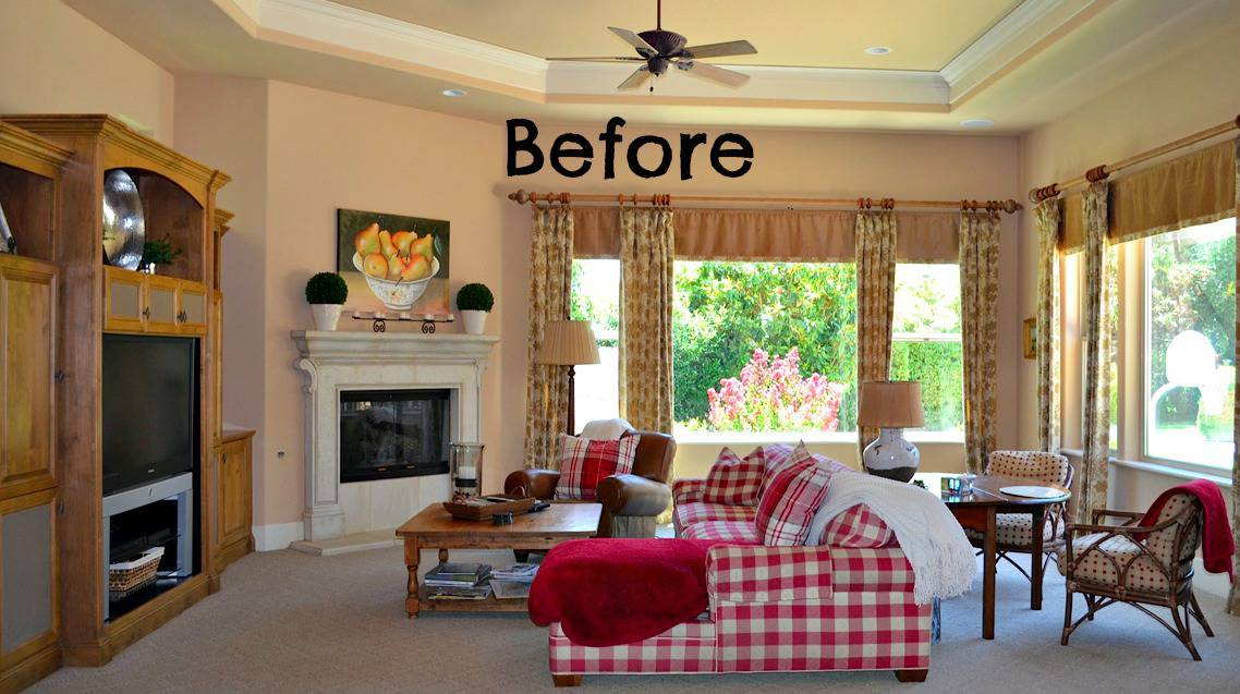 Child Friendly Blue White Family Room Before And After