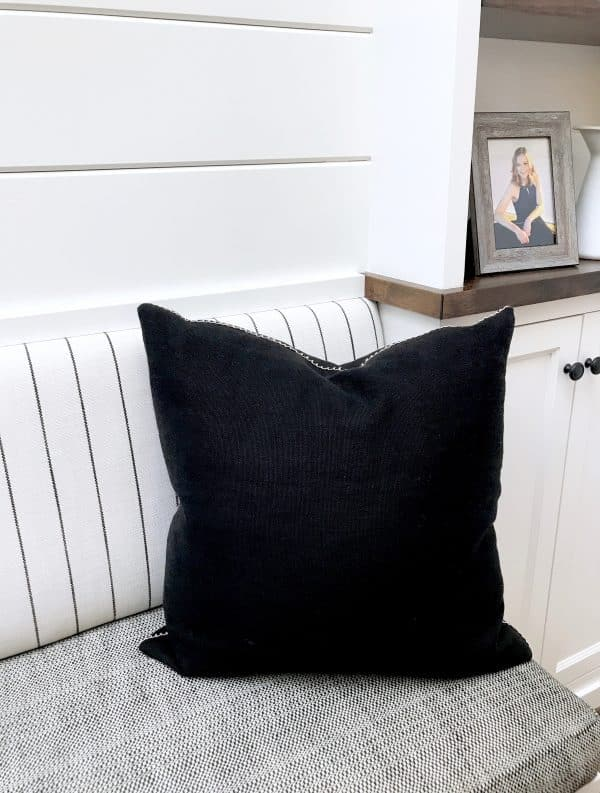black and white striped banquette