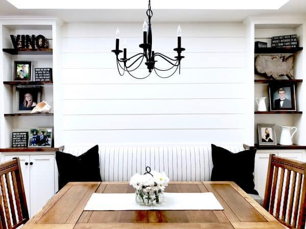 banquette with shiplap