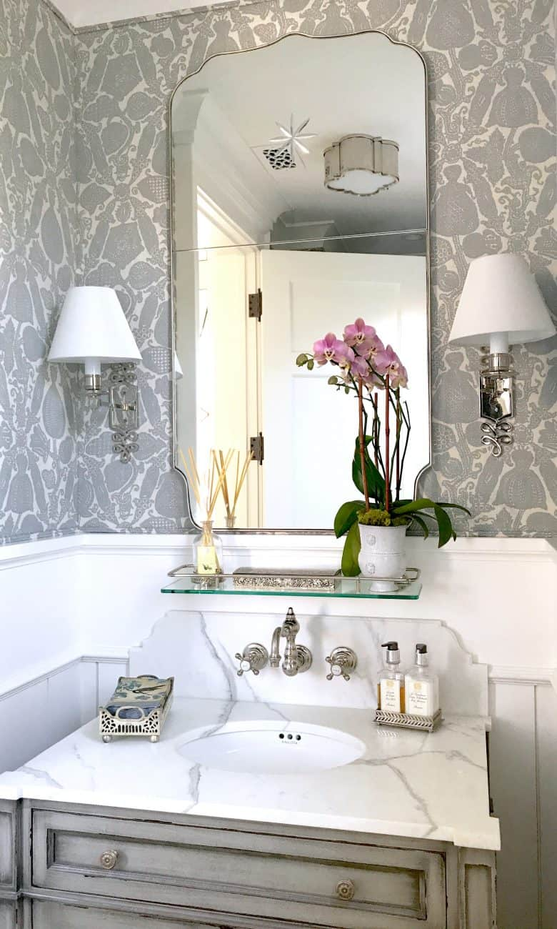 Gorgeous New Gray and White Powder Room