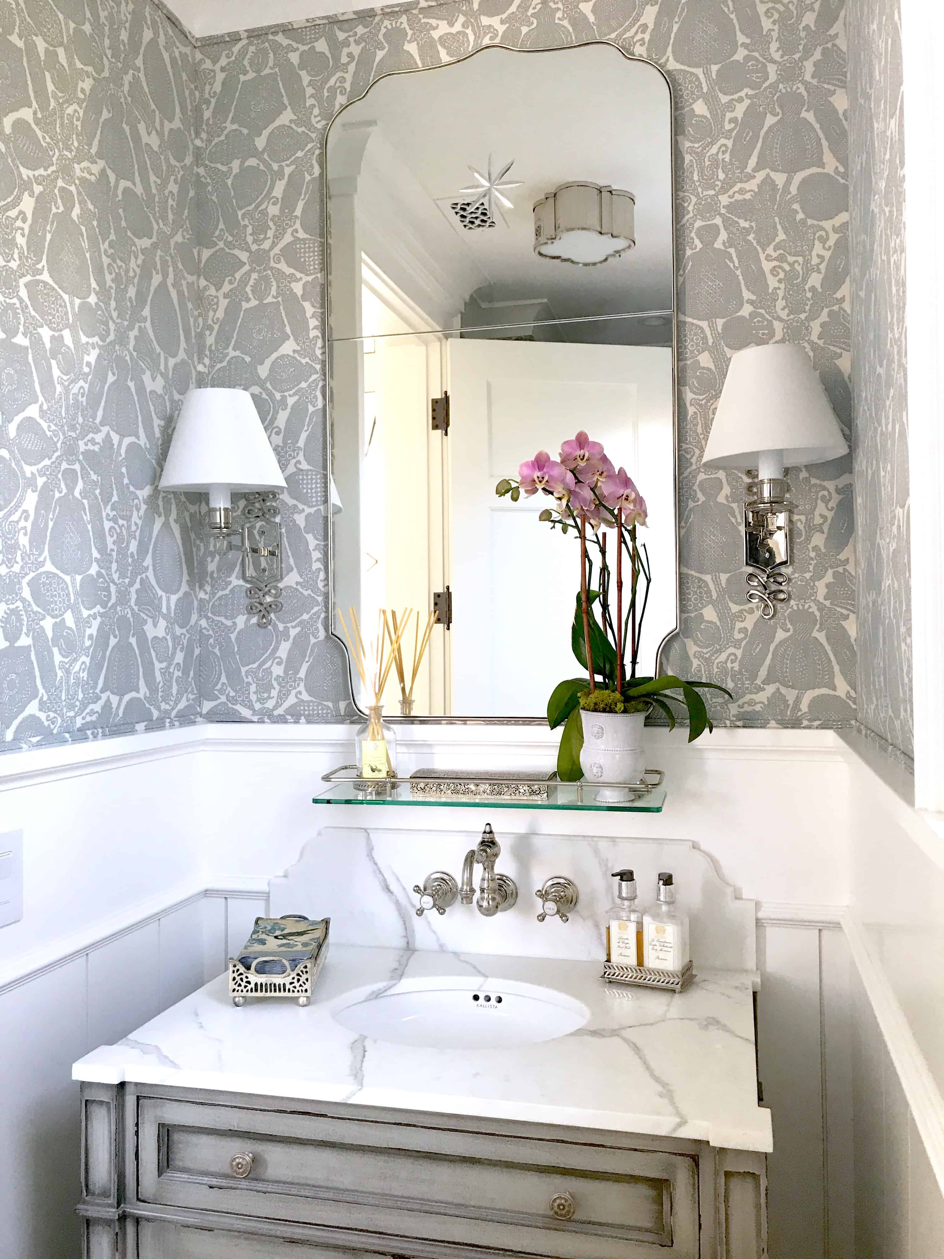 Gorgeous New Gray and White Powder Room Classic Casual Home