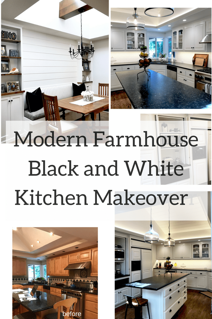 BLACK AND WHITE MODERN FARMHOUSE KITCHEN Before and After