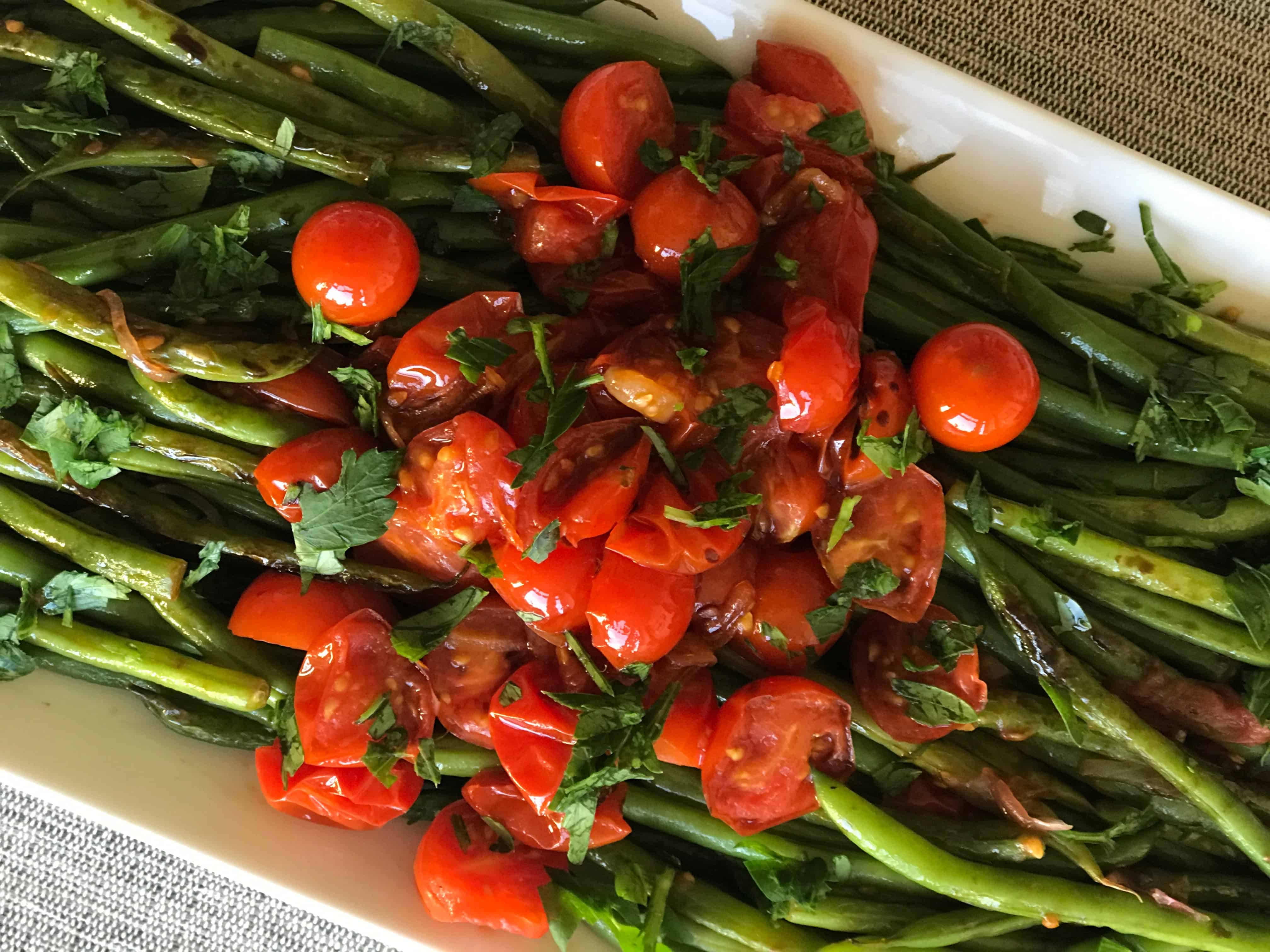 Seared Green Beans and Cherry Tomatoes with Balsamic Drizzle