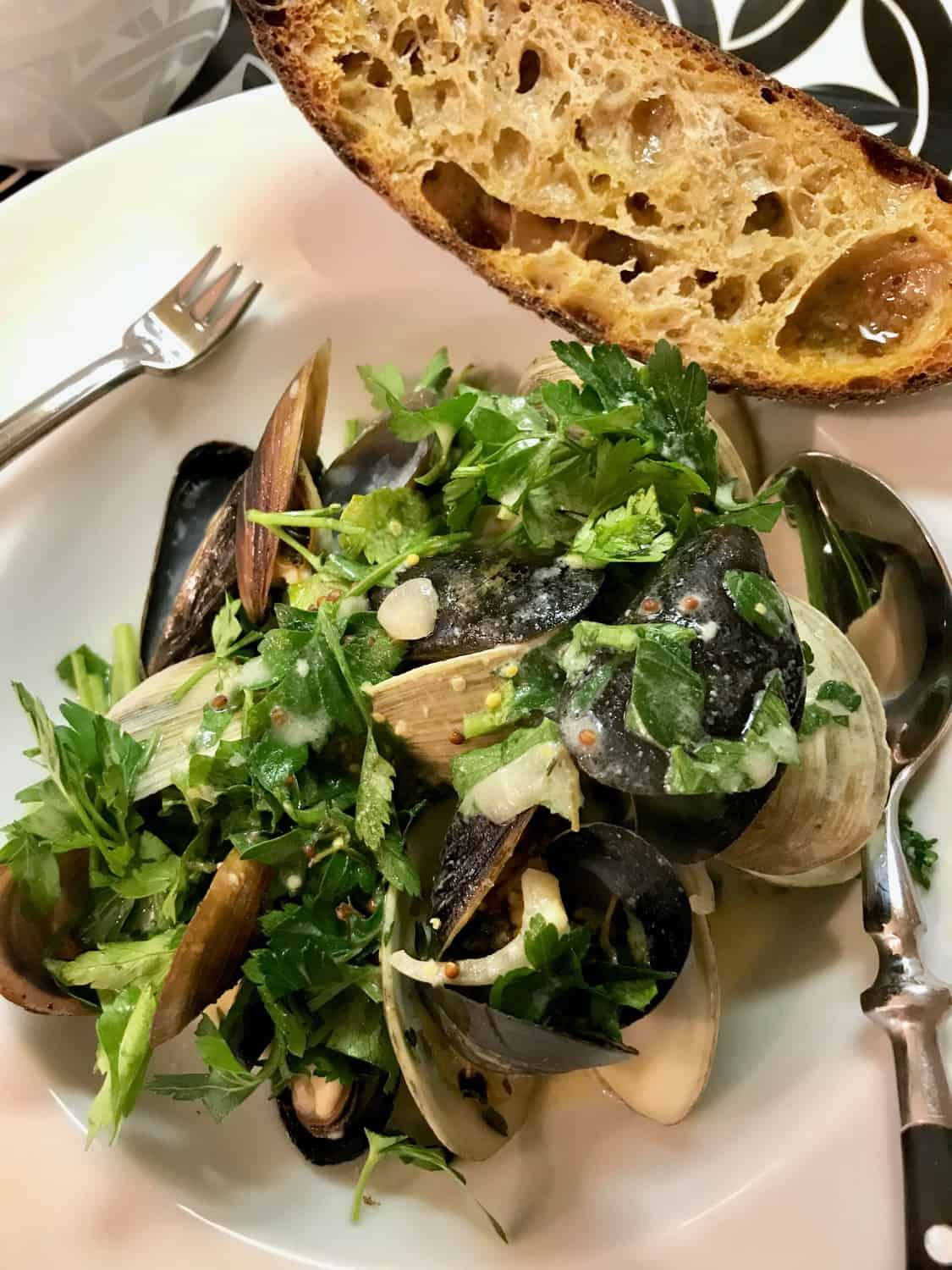 Mussels and Clams in Mustard Wine Sauce