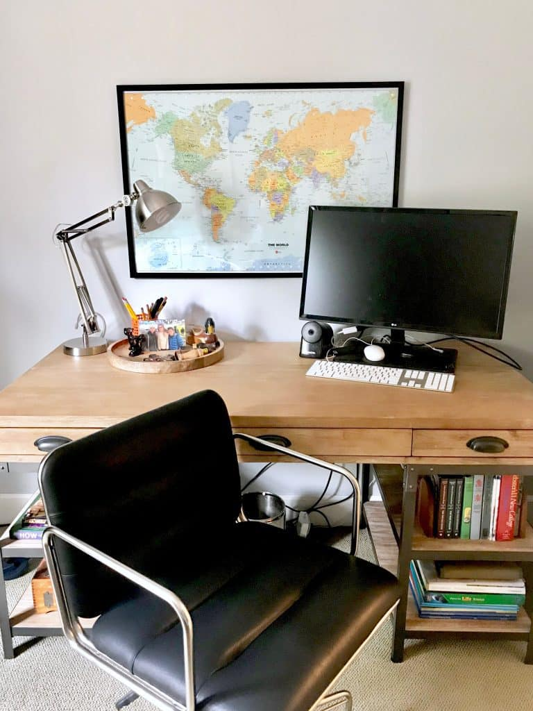 Toddler to teen bedroom five makeover tips that will last classic now there is elbow room with this world market industrial desk and black leather chair there is also a dry erase world map from target that his mom framed gumiabroncs Choice Image