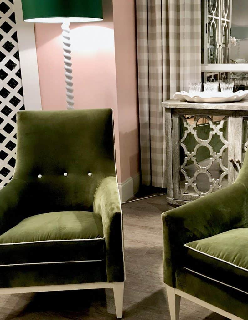 Green velvet chairs by Rowe