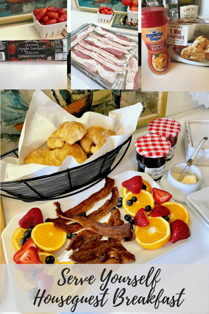 bacon, fruit, croissants, simple breakfast