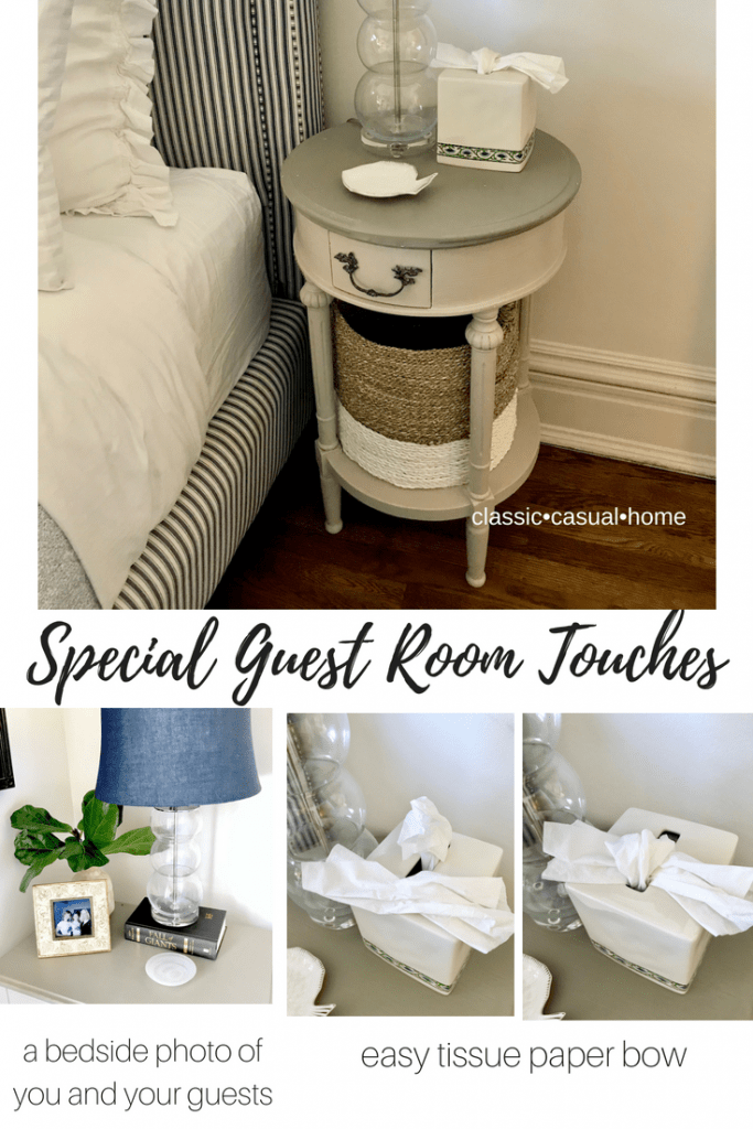 special guest room touches... tissue box bow