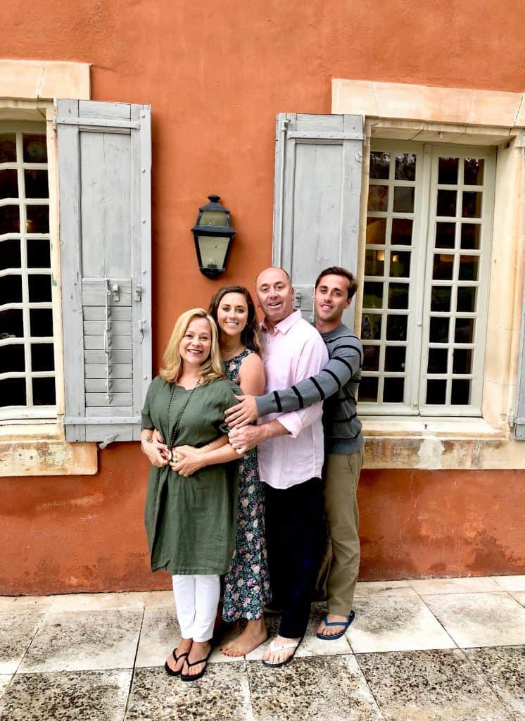 family photo in front of the Bastide, Provence, France