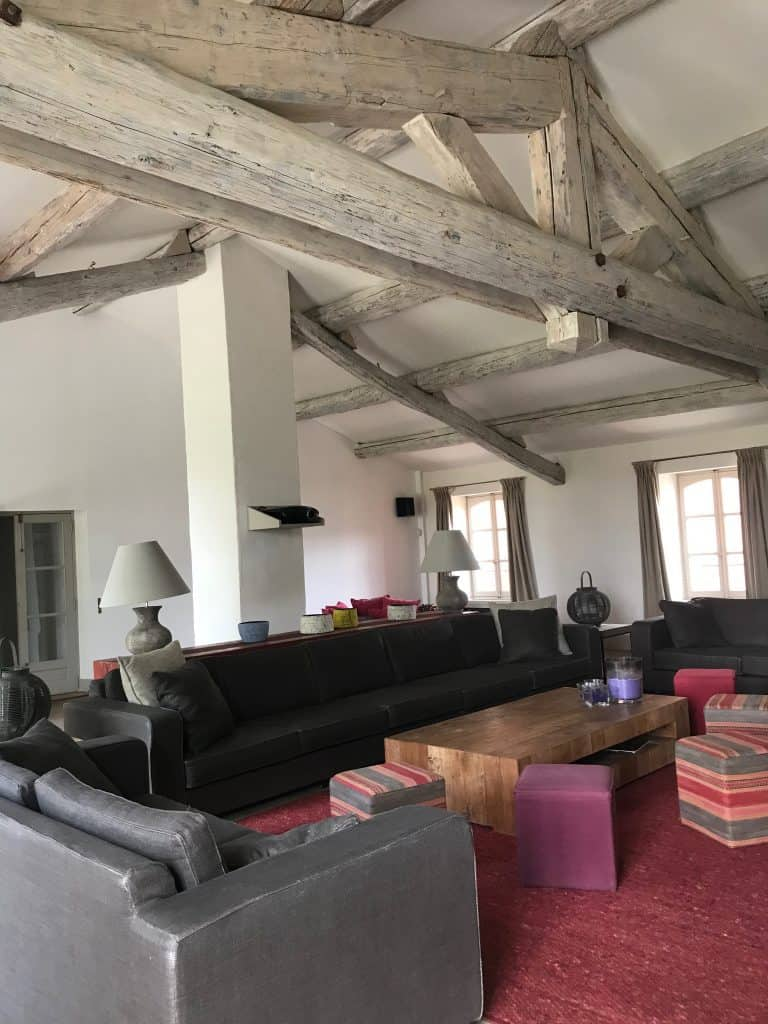 living room in a French farmhouse manor