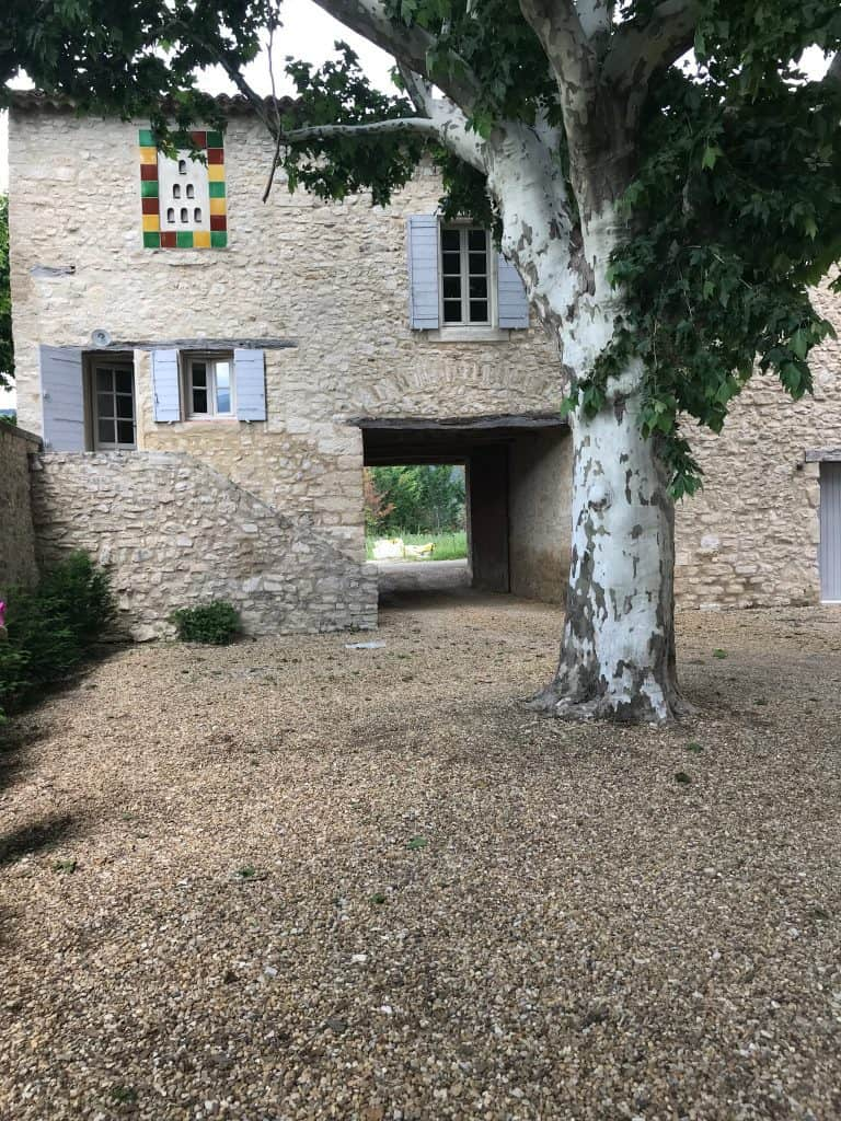 pebbled courtyard and guest house French bastide