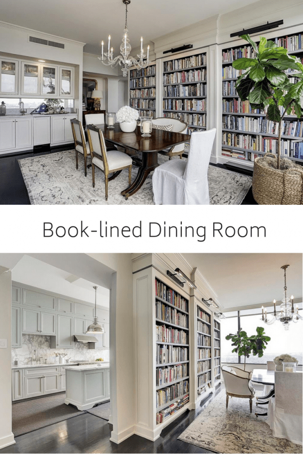 antique and modern dining room and kitchen