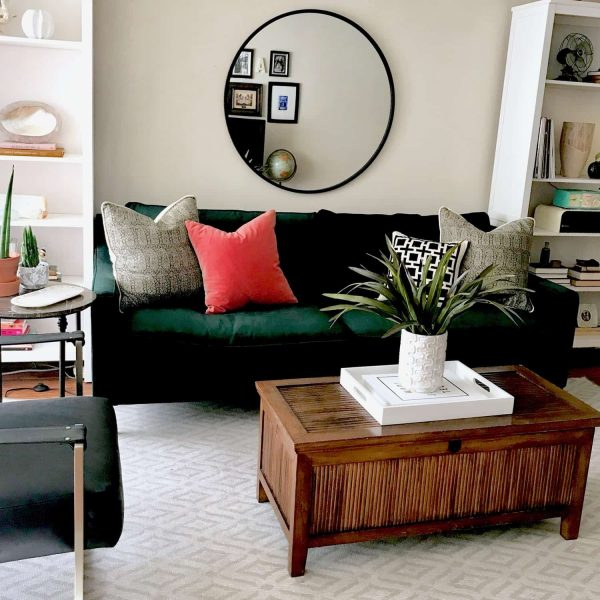 Green sofa with vintage chest Modern Boho style