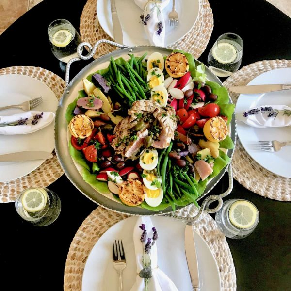 Salade Nicoise and table setting