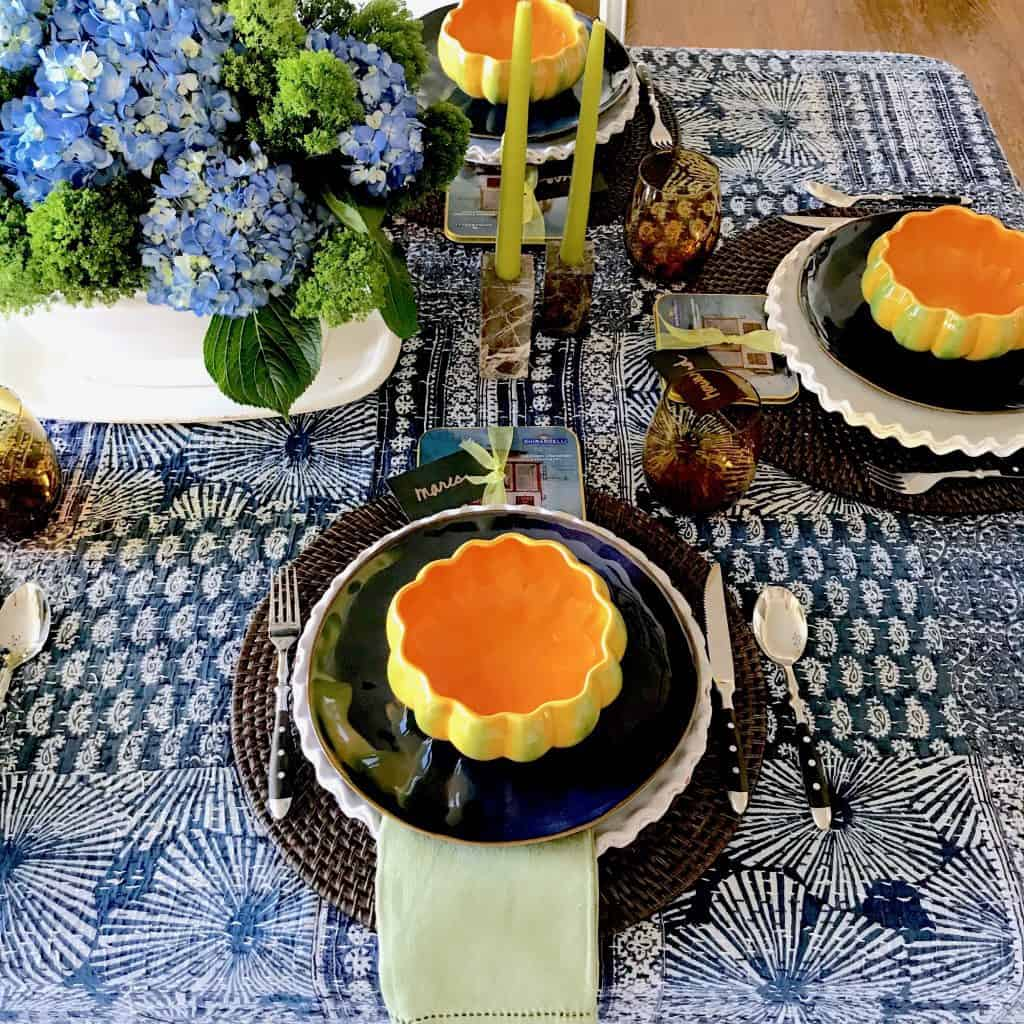 Blue, Orange and Green Fall Table Setting - Classic Casual Home.