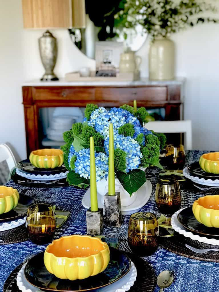 Blue and White Patchwork quilt Fall table setting