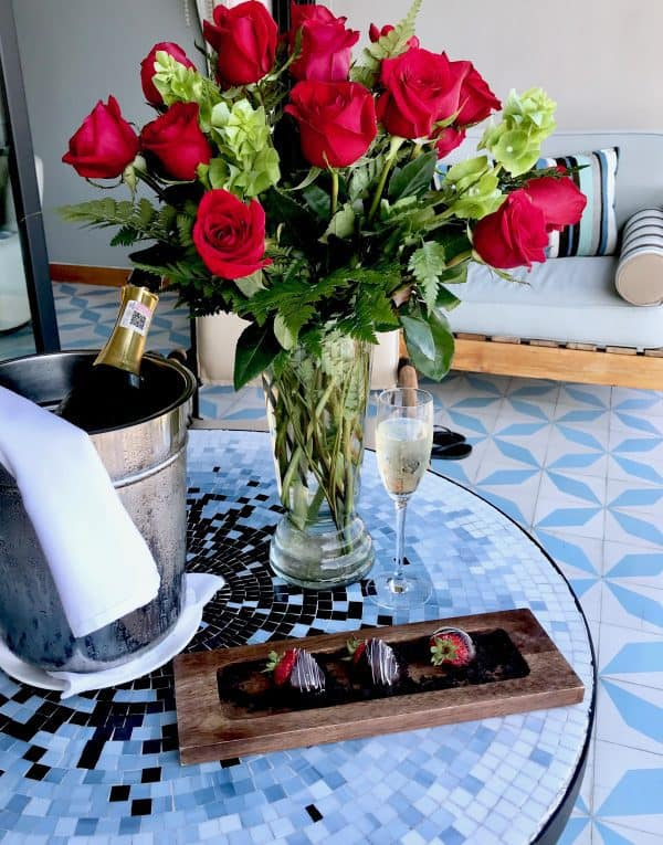 Roses and Prosecco for our anniversary