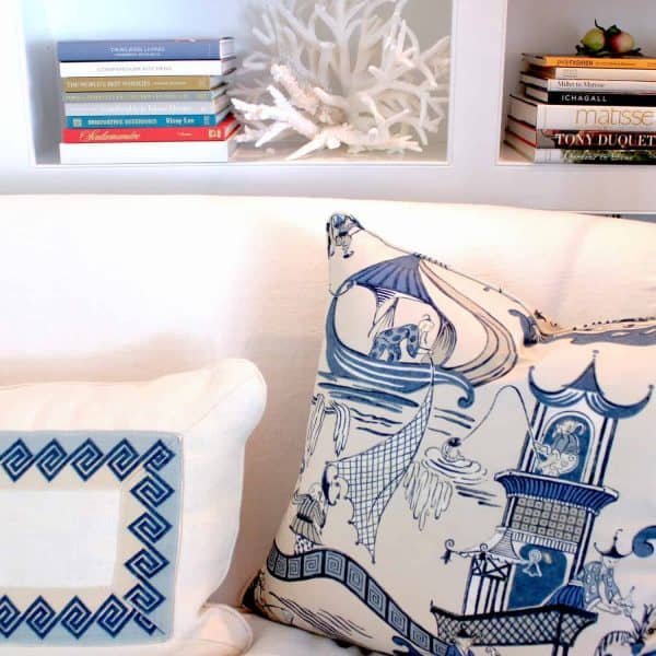 blue and white designer pillows