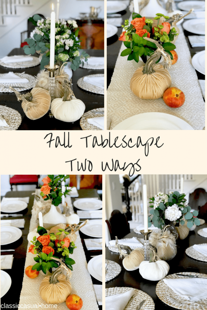 Tablescape two ways with velvet pumpkins
