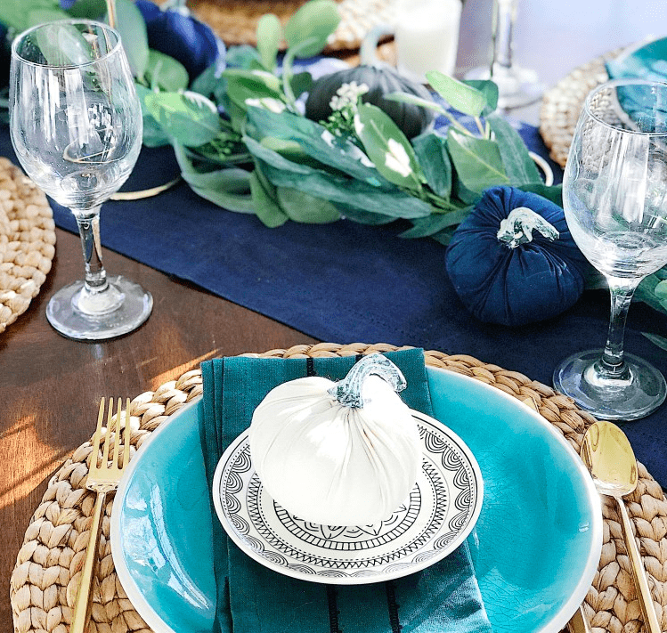 Blue and Turquoise Thanksgiving Table