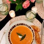 Our BEST Soups: Healthy Roasted Red Pepper Soup with Parmesan Crostini