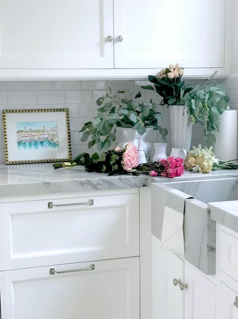 Beautiful Classic Laundry Room with Marble Sink