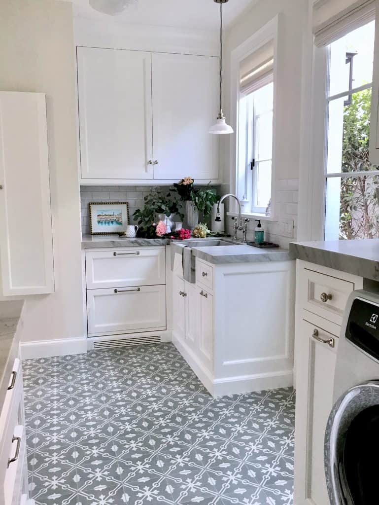 Grey and White Beautiful Classic Laundry Room