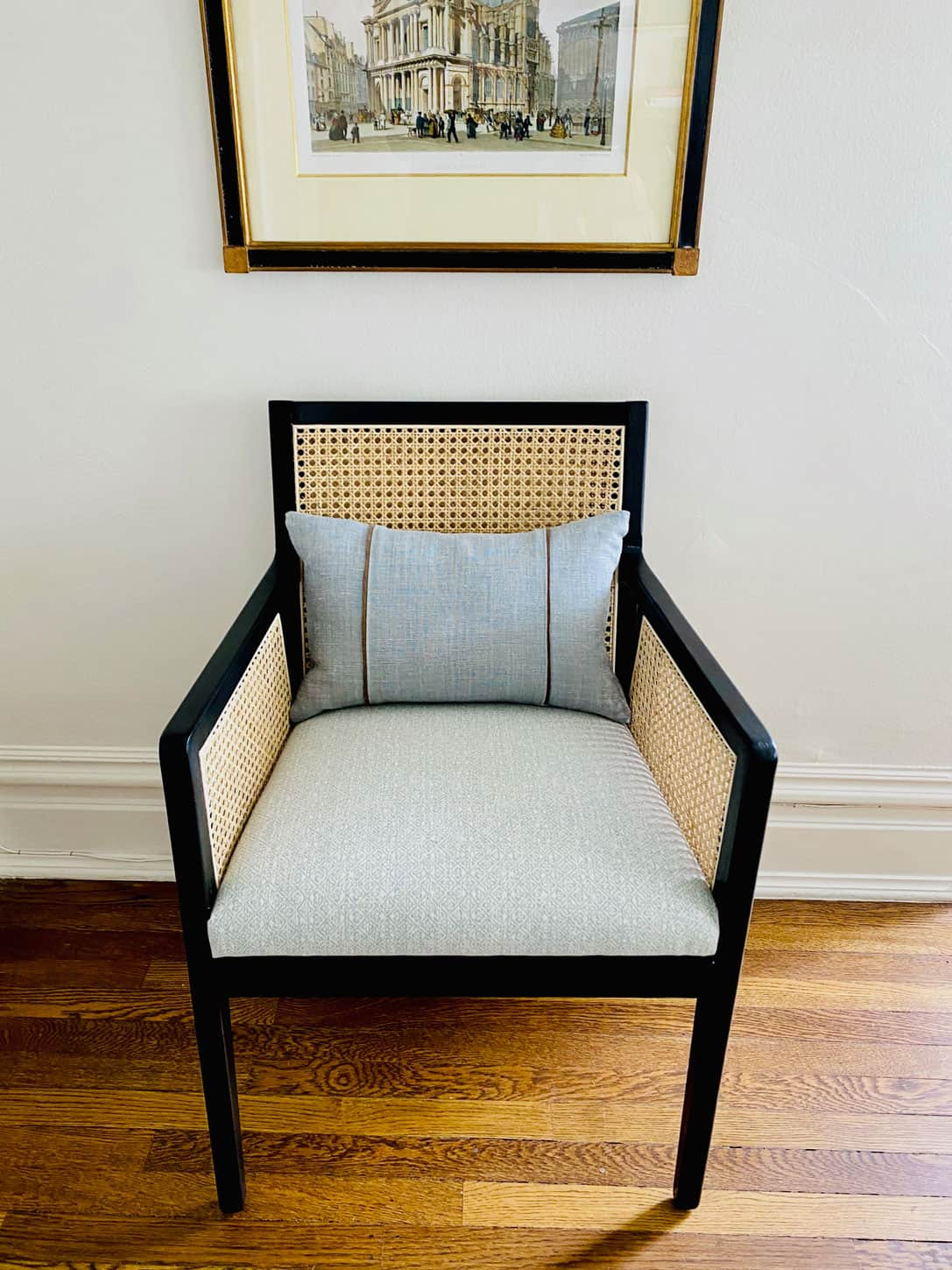 caned back dining chair with Schumacher fabric seat
