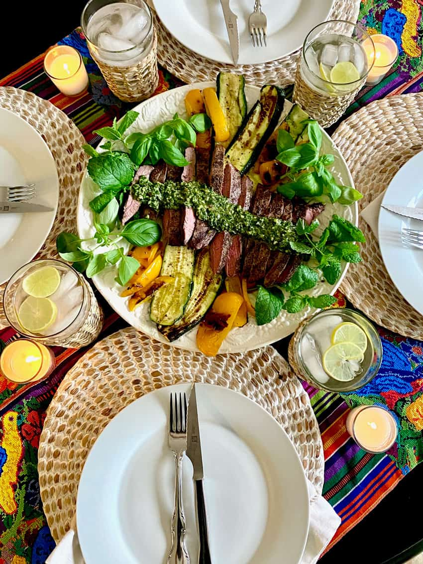 Chimichurri sauce with grilled meat and vegetables