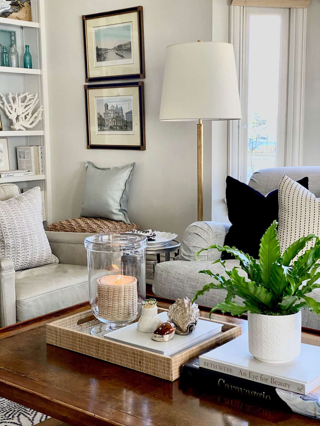 coffee table styling with antique prints