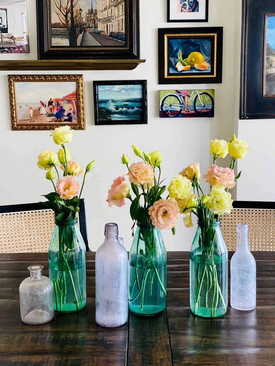 Mary Ann Pickett's gallery wall and centerpiece