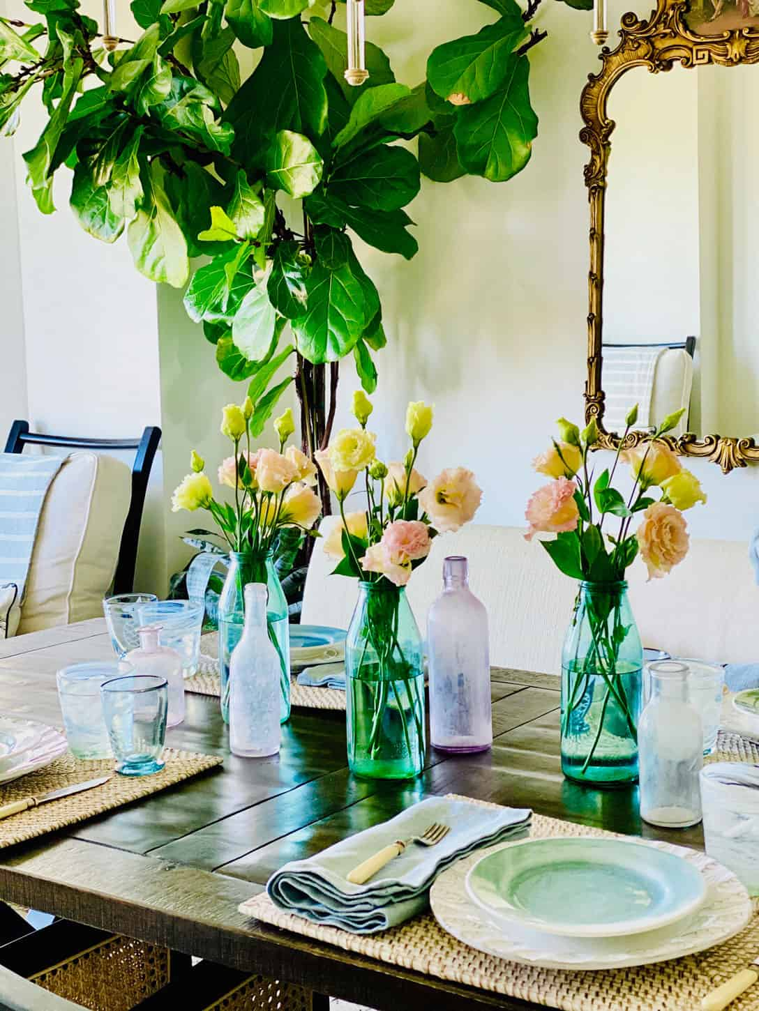 Mary Ann Pickett's table setting with bottles
