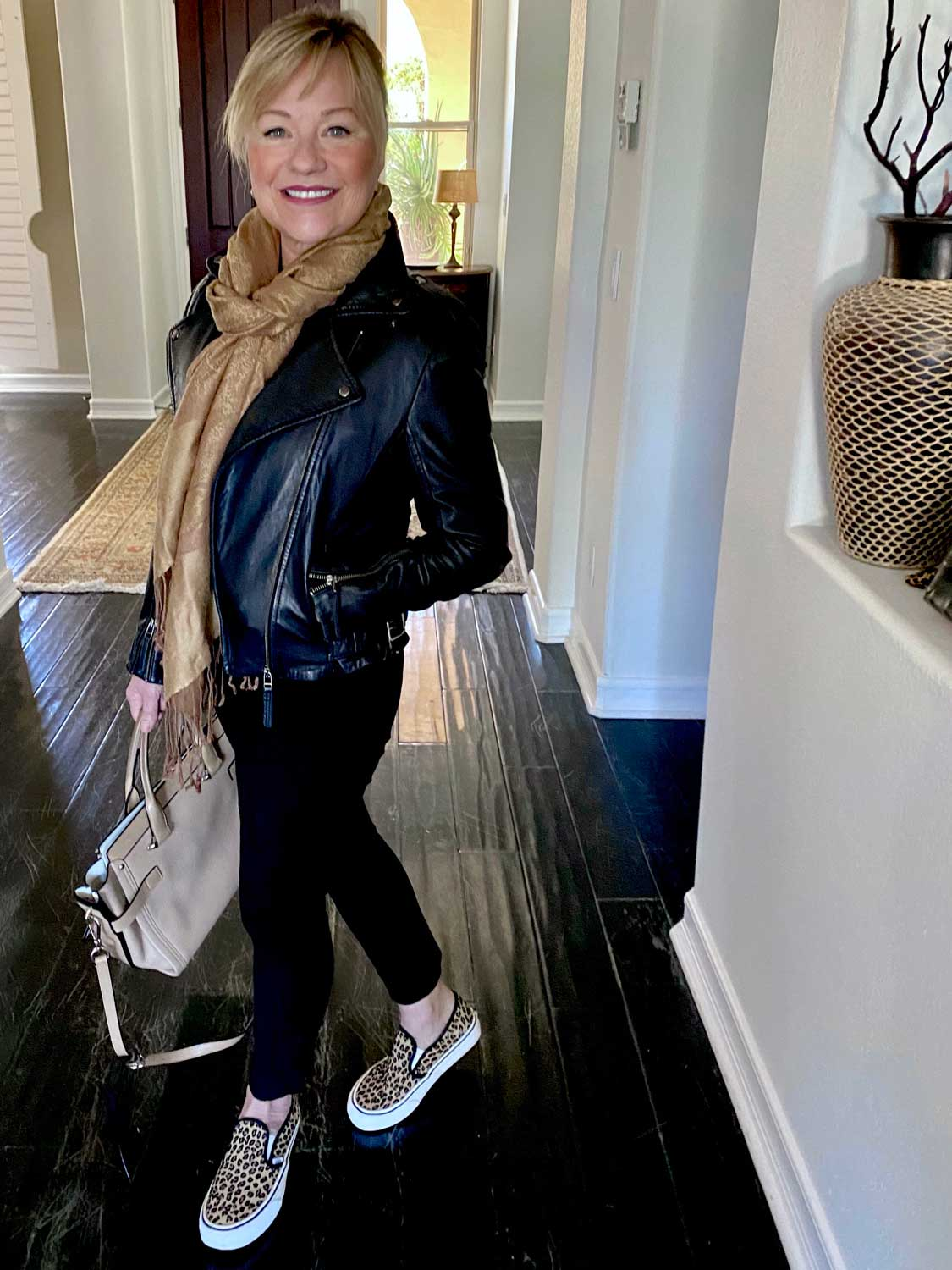 Mary Ann Pickett in Madewell Leather Jacket and Van's Leopard print sneakers