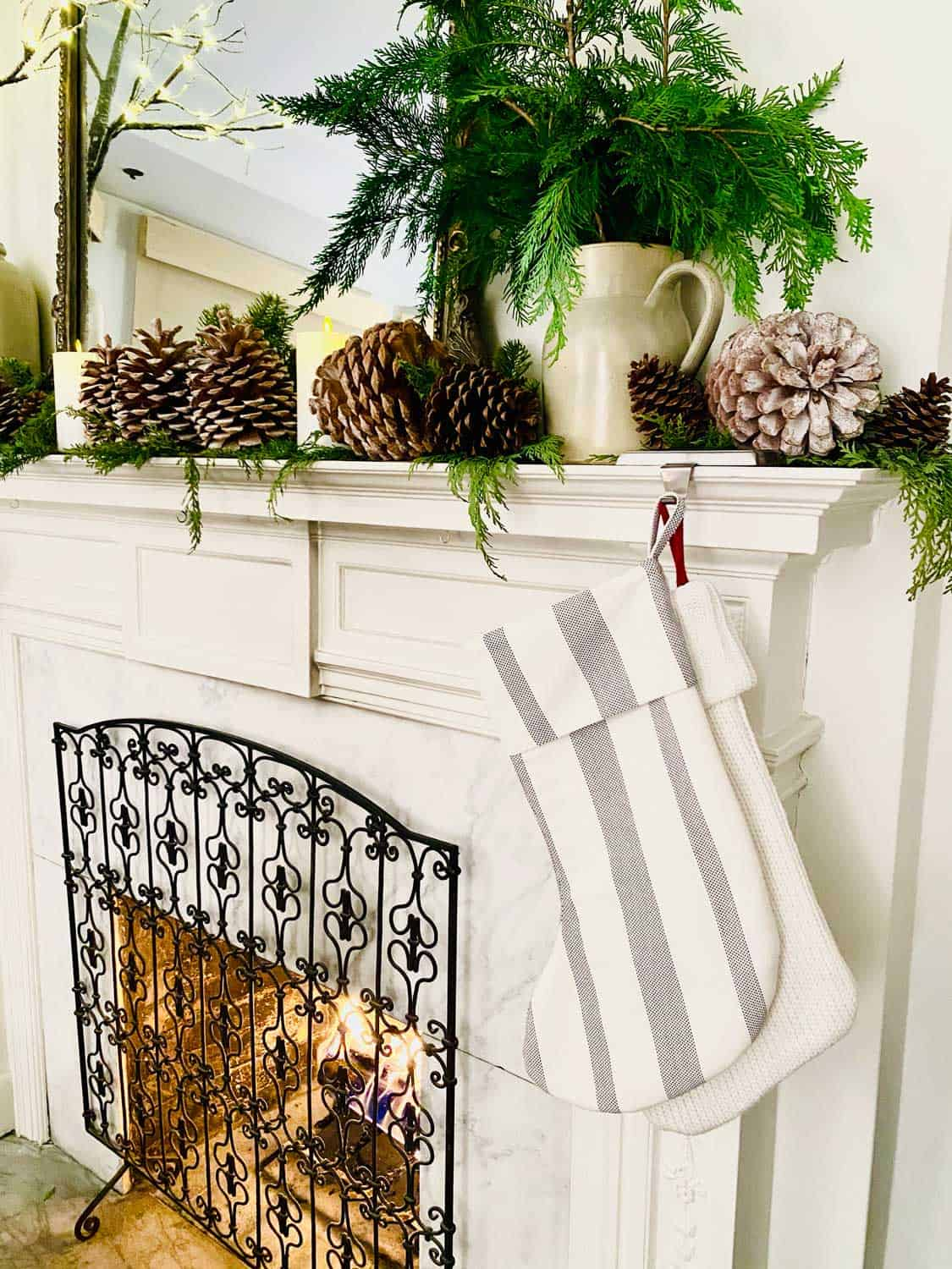 Vintage White Mantel With Christmas Stockings From Target