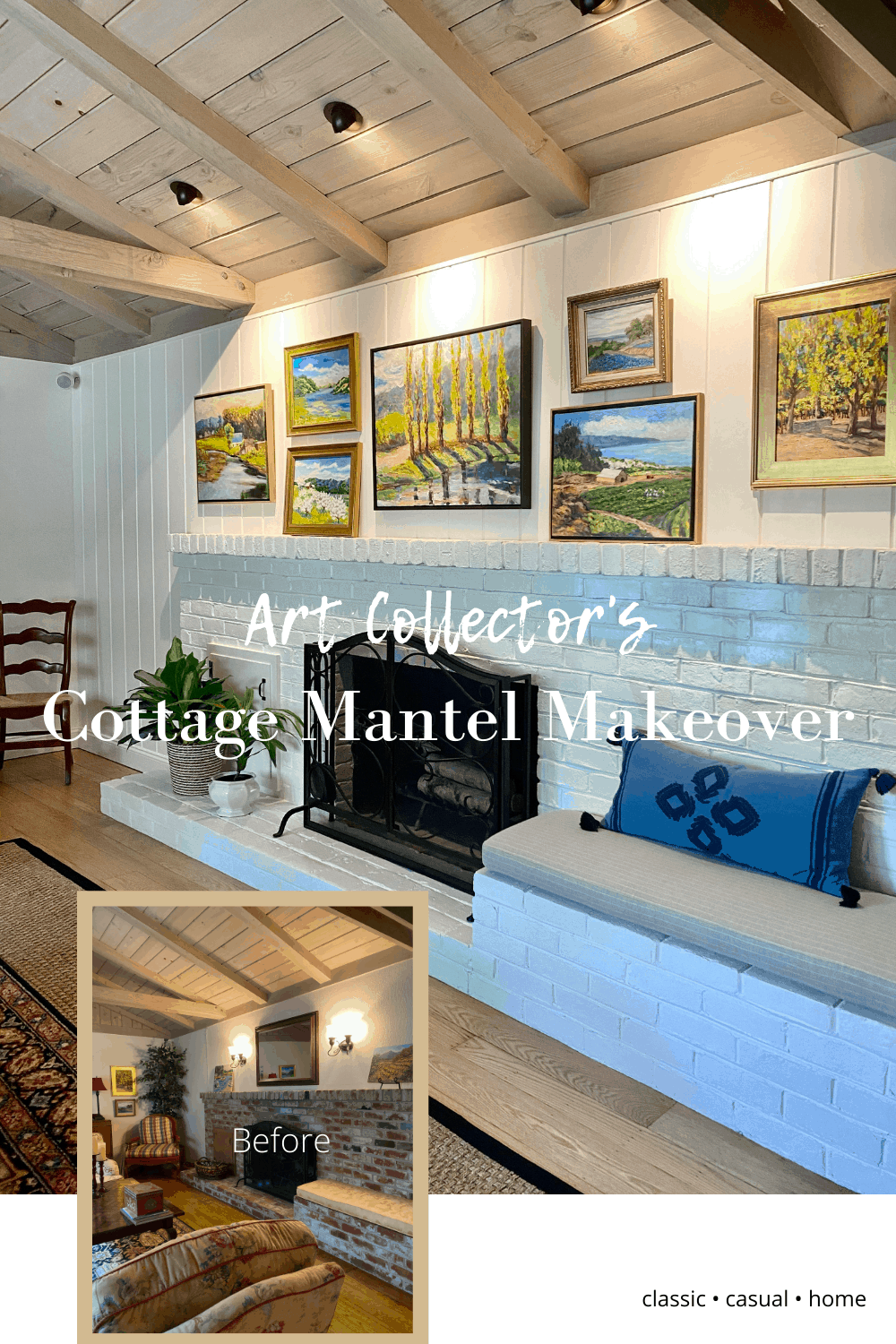 Art Gallery and Painted Brick Fireplace
