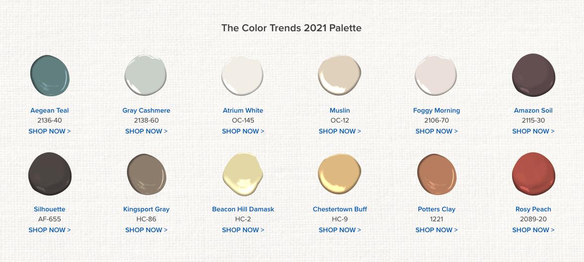 2021 Paint colors by Benjamin Moore