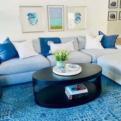 light blue sectional with oval coffee table