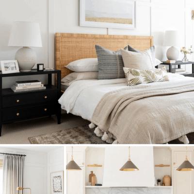 Studio McGee's Netflix Show with a coastal bedroom and Dark Kitchen Island