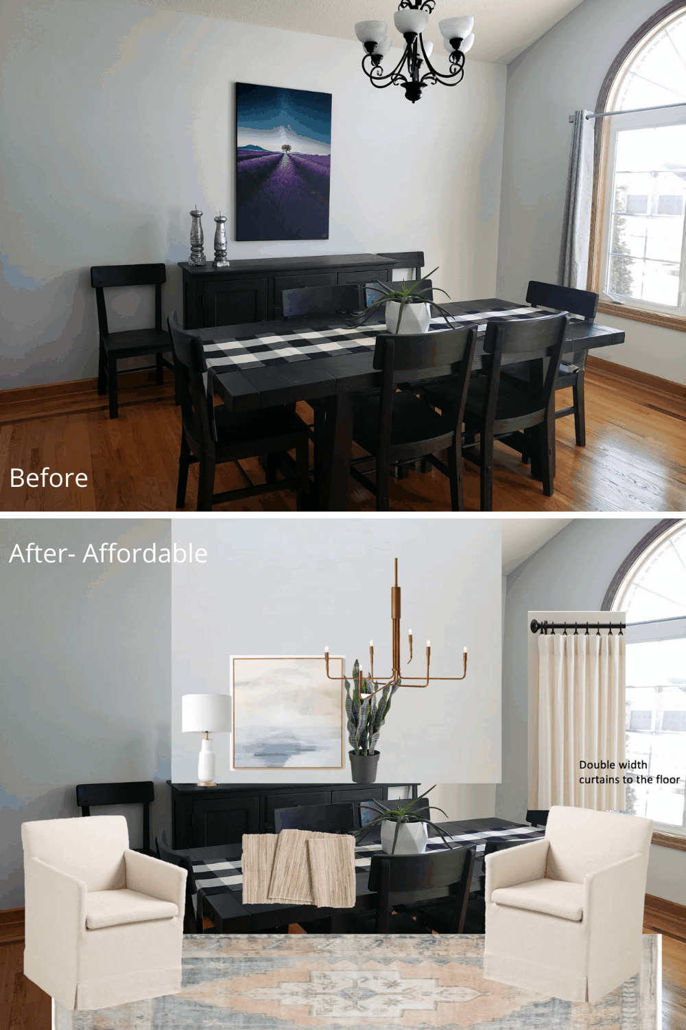 Ways to warm up a dining room with lighting and curtains.