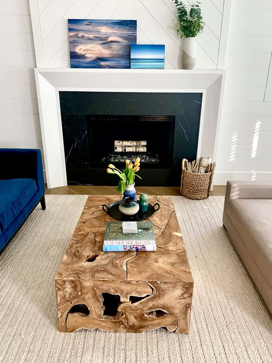 Decorating Modern Traditional Living Room with Noir Coffee Table and Simple White Mante