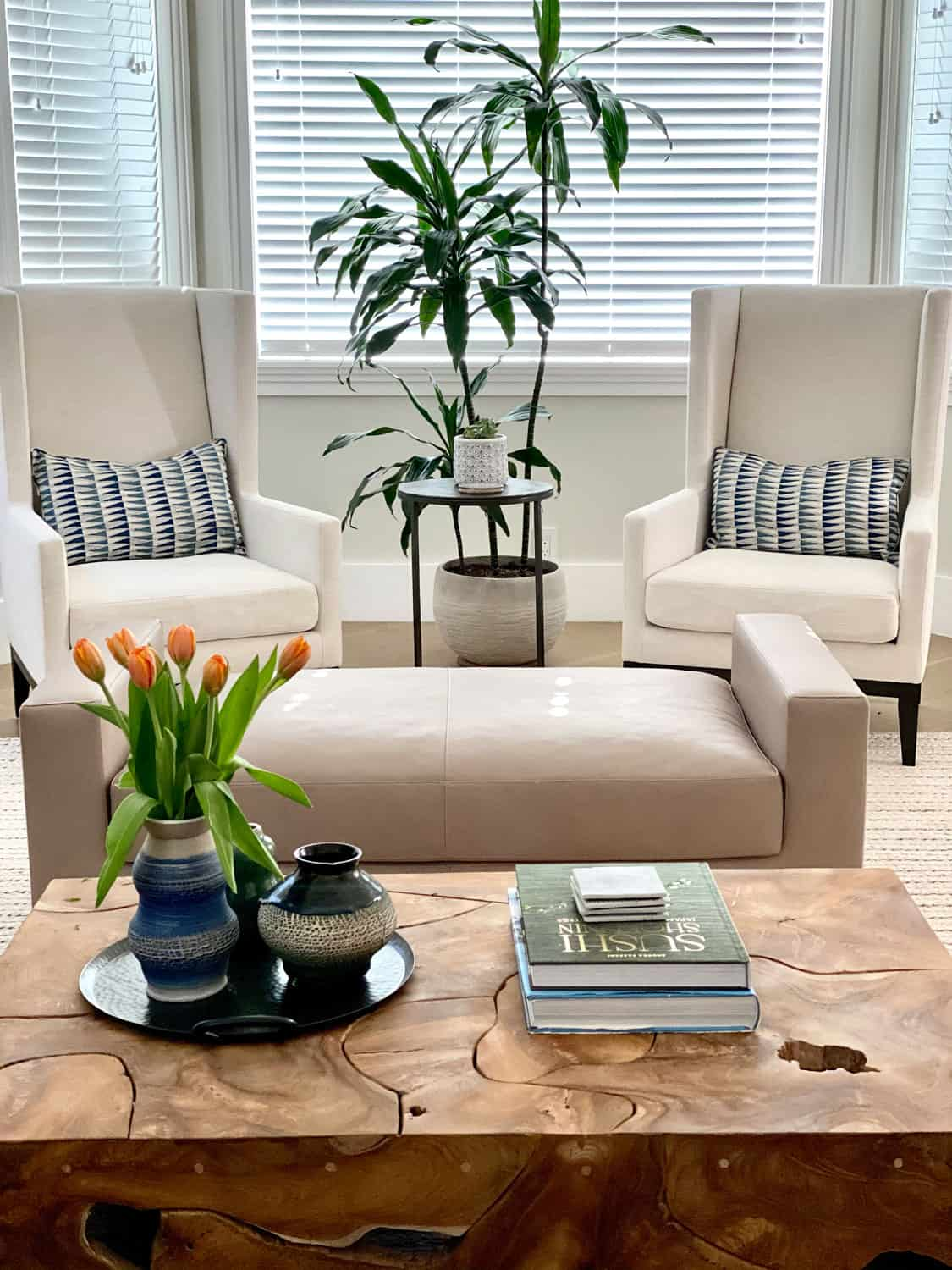 Decorating Modern Traditional Living Room with a leather bench and modern wing back chairs