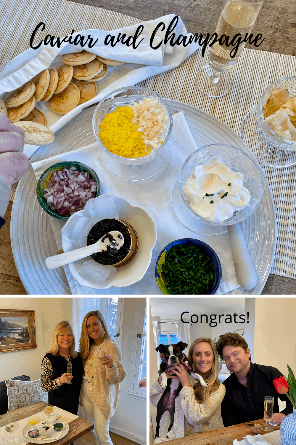 Small Engagement Party with Caviar and Champagne