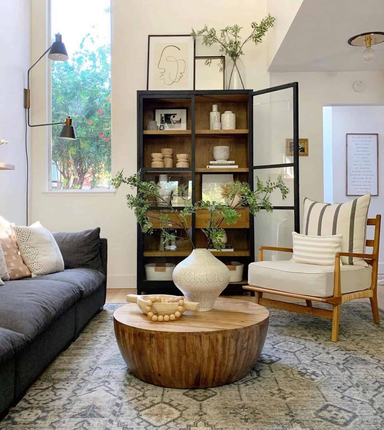 glass cabinet as living room focal point