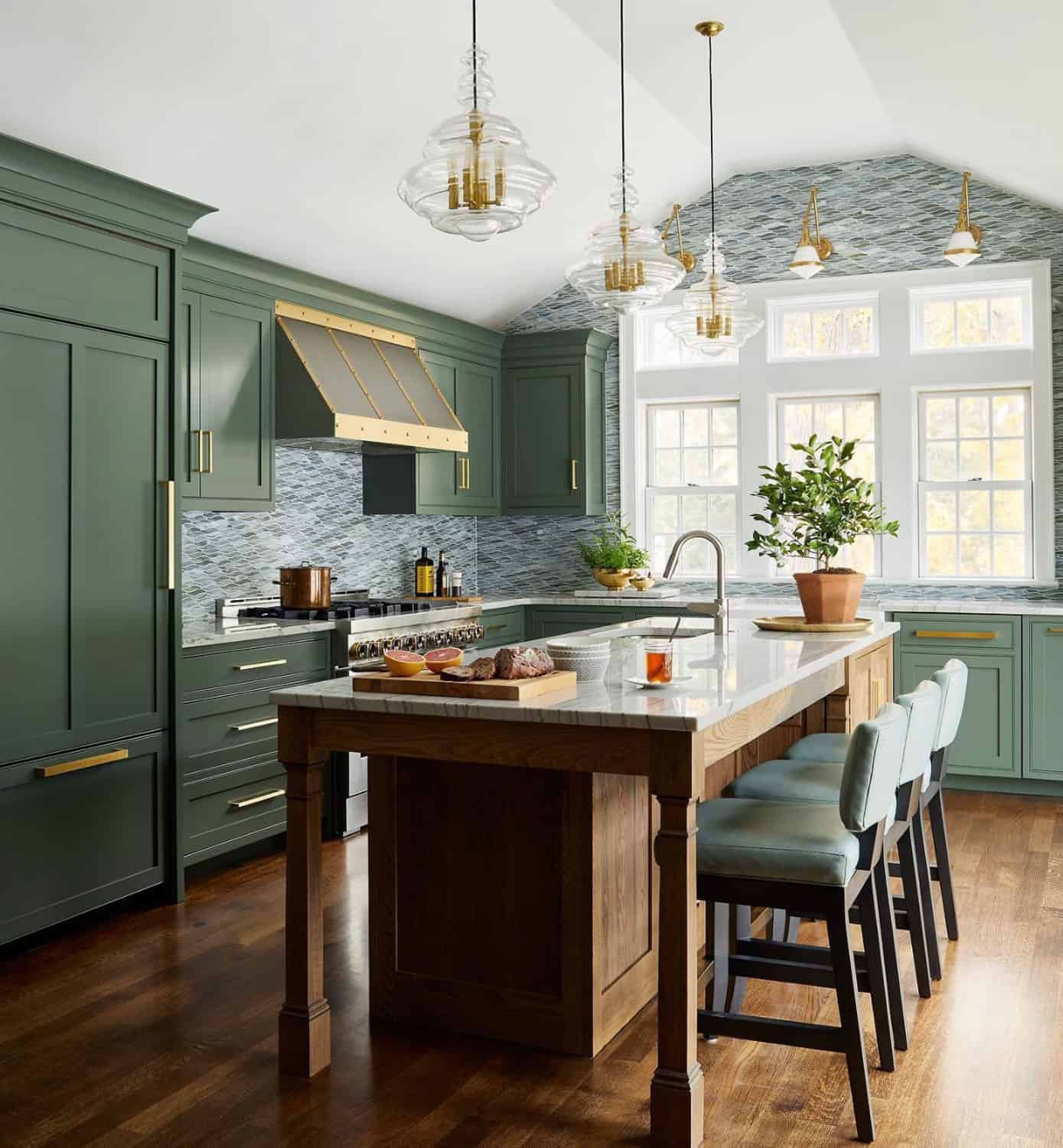 green cabinets with tiles wall