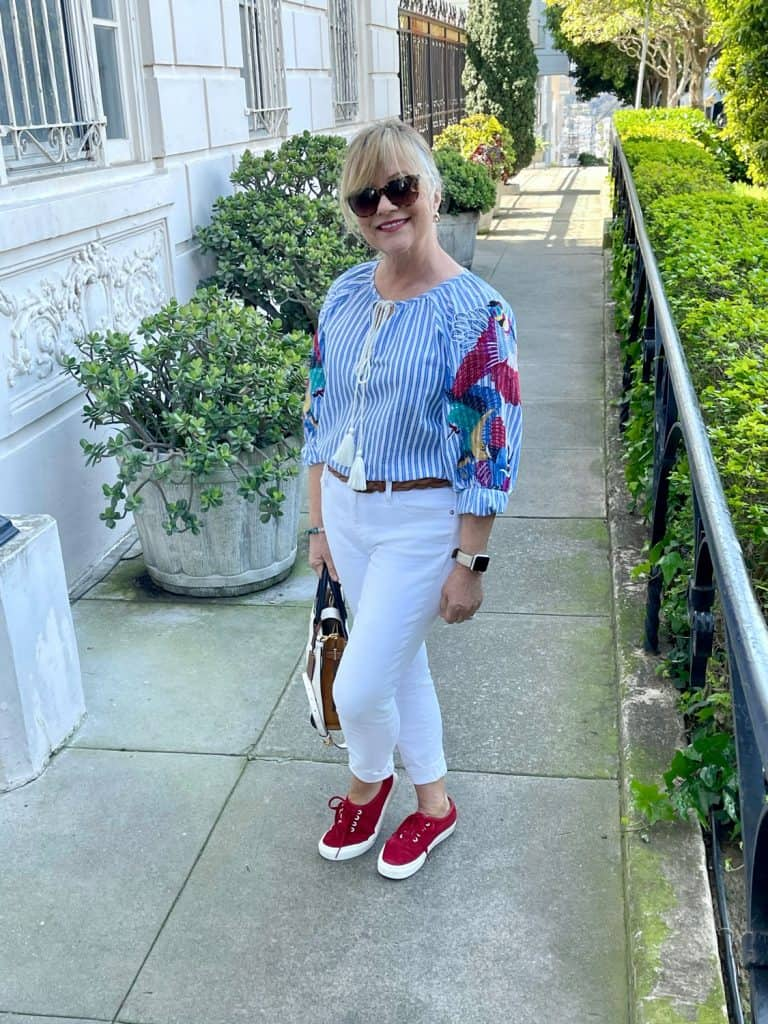 Mary Ann Pickett in Embroidered Stripe Top
