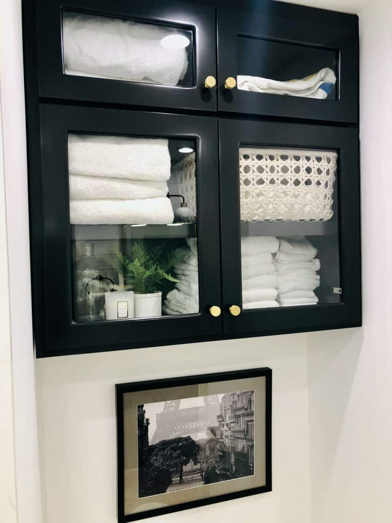 black and white bathroom cabinet remodel