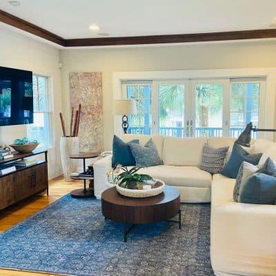 Coastal Blue and White Living Room